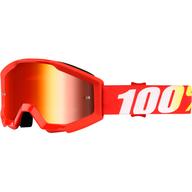 Dětské motokrosové brýle 100% Strata - Červená/Bílá/Žlutá - zrcadlové