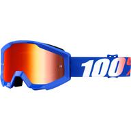 Dětské motokrosové brýle 100% Strata - Modrá/Bílá/Červená - zrcadlové