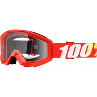 Dětské motokrosové brýle 100% Strata - Červená/Žlutá/Bílá - čiré