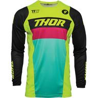 Dětský dres Thor Pulse Racer - Žlutá Fluo/Červená/Modrá/Černá